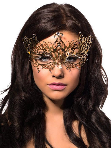 Delicate Gold Filigree Metal Masquerade Mask