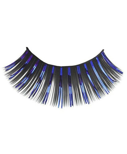 Tinsel Eyelashes in Black and Blue