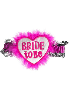 Hen's Night Fluffy Pink Bride To Be Leg Garter