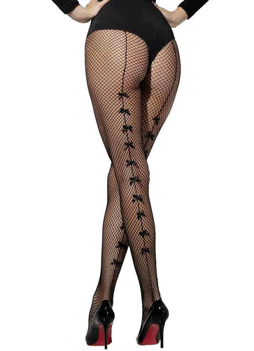 Black Fishnet Stockings with Back Bows