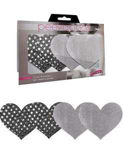 Black and Silver Heart Pasties for Women Main Image