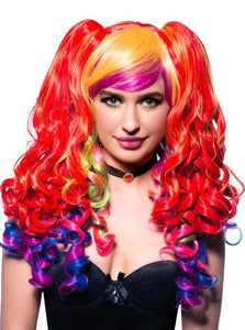 Ayla Deluxe Rainbow Wig with Ponytail Clips