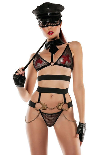 Black Fishnet Role-play Cop Lingerie Set Front View