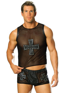 Men's Erotic Black Leather and Mesh Lingerie Tank Main Image