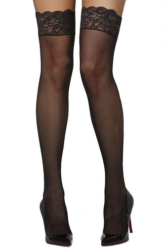 Fishnet Sexy Thigh Highs with Lace Tops