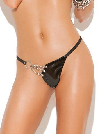 Side Chains Women's Vinyl G-String - Plus Size