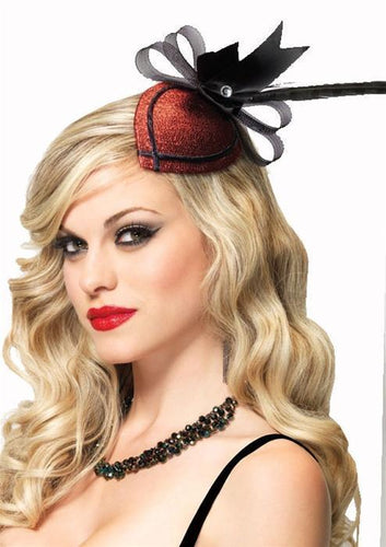 Retro Lurex Fascinator Burlesque Accessory - Red