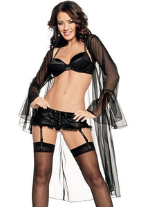Black Satin Bra, Garter Belt & Robe Lingerie Set