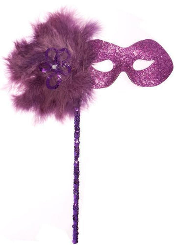 Glitter Swirls Hand Held Mask - Purple