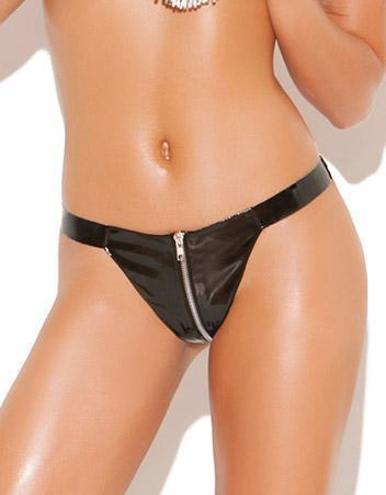 Zip Up Sexy Black Vinyl Thong - Plus Size