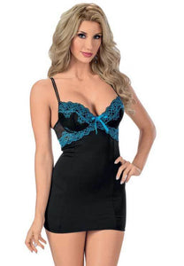 Midnight Pleasures Sexy Black Chemise Lingerie