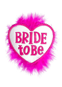 Hen's Night Fluffy Pink Bride To Be Novelty Badge