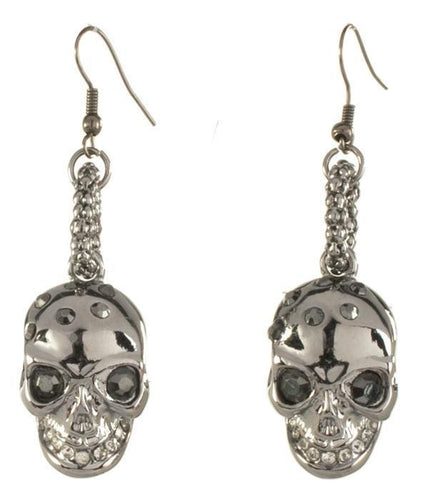 Gun Metal Black Skull Earrings