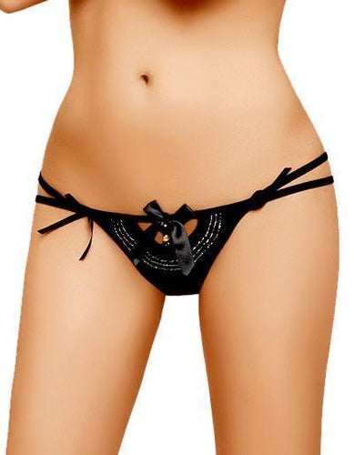 Noemie Black Beaded G-String Lingerie