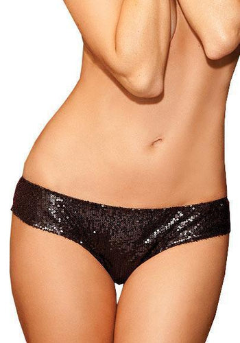 Shining Star Sequined Lace Back Panties - Black