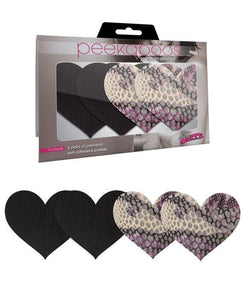Heart Shaped Black and Leopard Print Nipple Covers Main Image