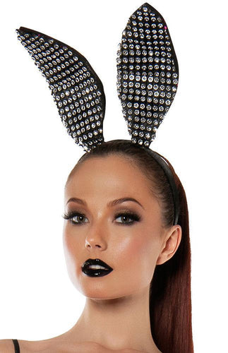 Sexy Black Sparkly Bunny Ears Front View