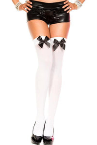 Thigh High Stockings with Bows-White/Black Bow