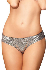 Shining Star Sequined Lace Back Panties - Silver