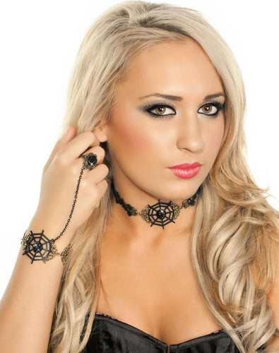 Leather and Lace Spiderweb Choker
