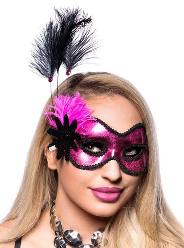 Pink and Black Metallic Masquerade Mask Front View