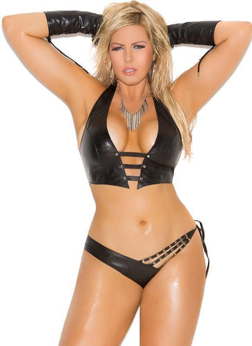 Studded Leather Bondage Plus Size Lingerie Set