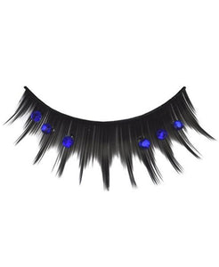 Blue Jeweled Spiked Eyelashes in Black