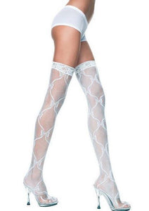 White Bow Lace Thigh High Stockings