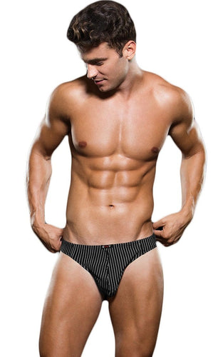 Men's Black Microfibre Thong with White Pinstripes Front View