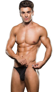 Black Magnetic Side Breakaway Thong For Men Front View