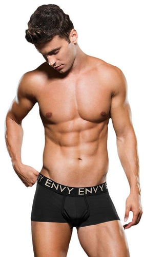 Men's Comfortable Black Microfibre Trunks Front View