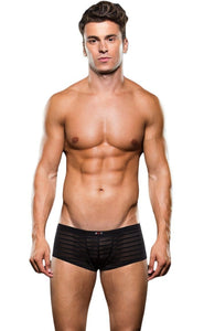 Mesh Striped Sexy Black Microfibre Trunks for Men Front View