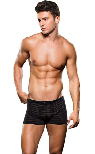 Mesh Striped Sexy Black Microfibre Boxers for Men Front View
