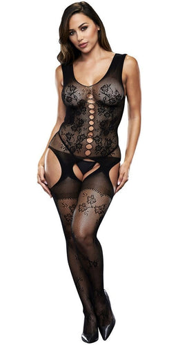 Sexy Women's Crotchless Black Jacquard Bodystocking Lingerie