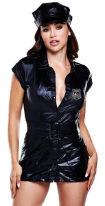 Black Wet Look Naughty Cop Lingerie Costume Front View