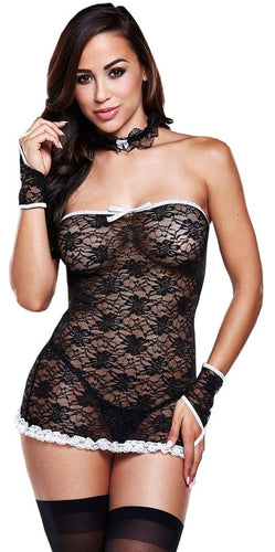 Sexy Black Lace French Maid Lingerie Costume Front View