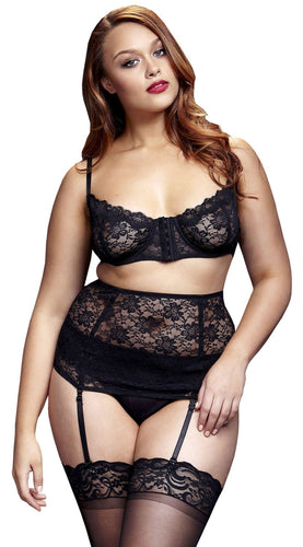 Plus Size Black Lace Bra Waist Cincher and Panties Lingerie Set Front View