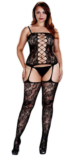 Sexy Black Corset Front Suspender Plus Size Women's Lace Bodystocking Lingerie Main Image