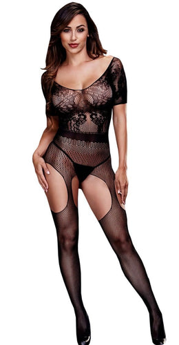 Black Suspender Bodysuit With Short Sleeves Women's Lace And Fishnet Lingerie Main Image