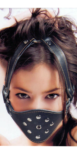 Black Leather Look Bondage Mask with Silver Studs