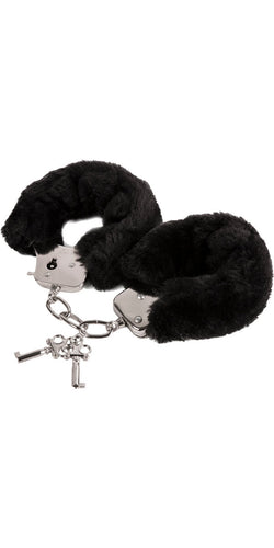 Kinky Black Fluffy Bondage Hand Cuffs - Product Image