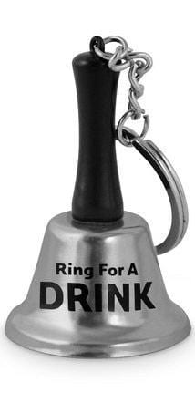 Novelty Ring For A Drink Mini Silver Bell Keychain