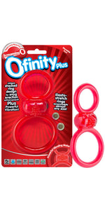 Screaming O Red Silicone Ofinity Plus Dual Ring Vibrating Cock Ring - Main Image