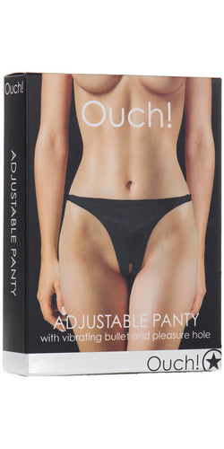 Ouch Adjustable Black Wet Look Vibrating Panty with Open Crotch - Main Image