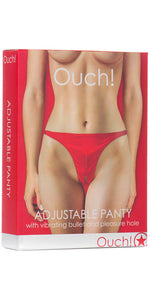Adjustable Red Wet Look Vibrating Panties with Open Crotch - Packaging Image