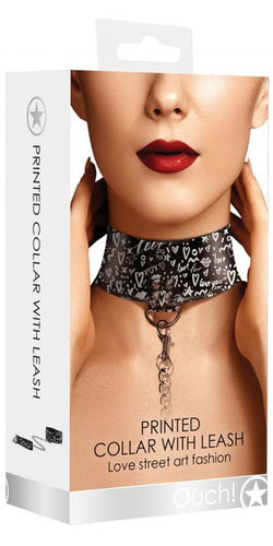 Ouch Love Street Art Fashion Black Leather white White Print Collar and Leash - Main Image