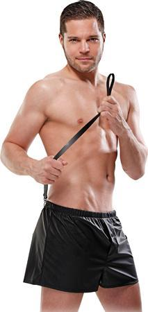 Men's Matte Black Obedience Boxers with Black Leash Front Image