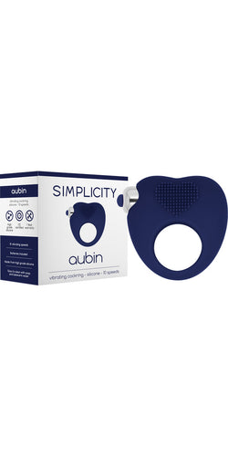 Navy Blue Aubin Vibrating Cock Ring by Simplicity - Main Image