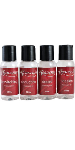 Heavenly Nights 4 Pack of Scented Massage Oils Mini Massage Kit