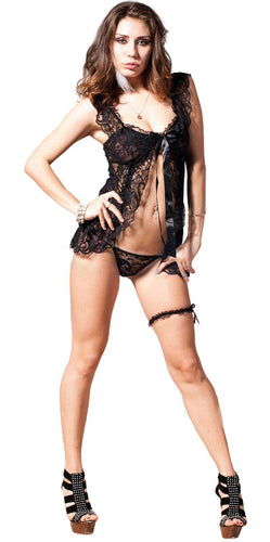Fallen Angel Black Lace Plus Size Babydoll Lingerie